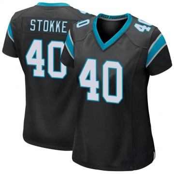Women's Nike Carolina Panthers Mason Stokke Black Team Color Jersey - Game