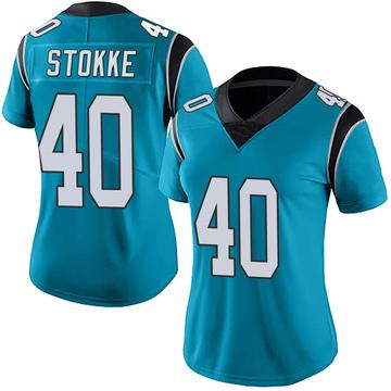 Women's Nike Carolina Panthers Mason Stokke Blue Alternate Vapor Untouchable Jersey - Limited