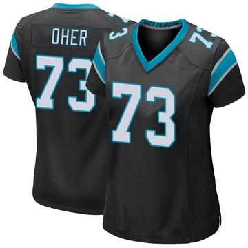 Women's Nike Carolina Panthers Michael Oher Black Team Color Jersey - Game