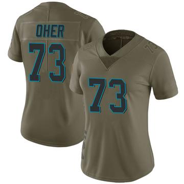 Women's Nike Carolina Panthers Michael Oher Green 2017 Salute to Service Jersey - Limited
