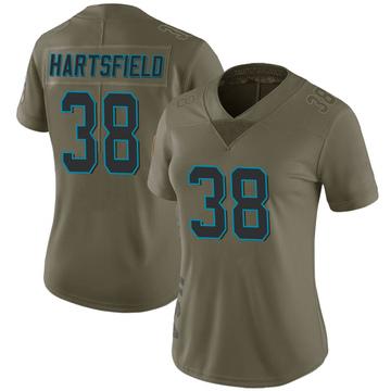 Women's Nike Carolina Panthers Myles Hartsfield Green 2017 Salute to Service Jersey - Limited