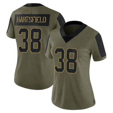 Women's Nike Carolina Panthers Myles Hartsfield Olive 2021 Salute To Service Jersey - Limited