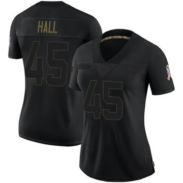 Women's Nike Carolina Panthers Nate Hall Black 2020 Salute To Service Jersey - Limited