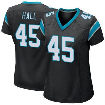 Women's Nike Carolina Panthers Nate Hall Black Team Color Jersey - Game