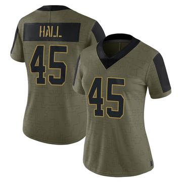 Women's Nike Carolina Panthers Nate Hall Olive 2021 Salute To Service Jersey - Limited