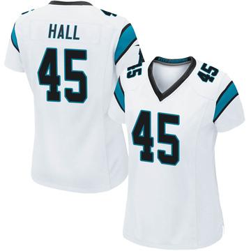 Women's Nike Carolina Panthers Nate Hall White Jersey - Game