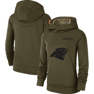 Women's Nike Carolina Panthers Olive 2018 Salute to Service Team Logo Performance Pullover Hoodie -