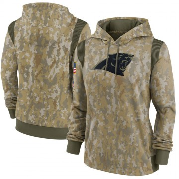 Women's Carolina Panthers Olive 2021 Salute To Service Therma Performance Pullover Hoodie -