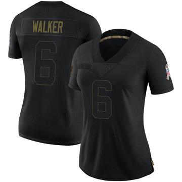 Women's Nike Carolina Panthers P.J. Walker Black 2020 Salute To Service Jersey - Limited
