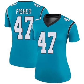 Women's Nike Carolina Panthers Paddy Fisher Blue Color Rush Jersey - Legend