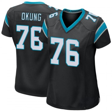 Women's Nike Carolina Panthers Russell Okung Black Team Color Jersey - Game