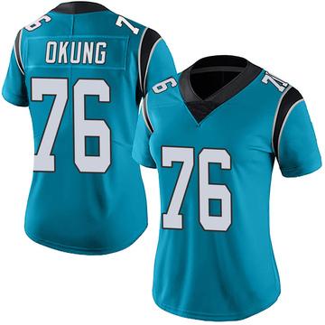 Women's Nike Carolina Panthers Russell Okung Blue Alternate Vapor Untouchable Jersey - Limited