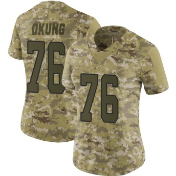 Women's Nike Carolina Panthers Russell Okung Camo 2018 Salute to Service Jersey - Limited