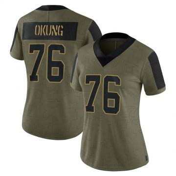 Women's Nike Carolina Panthers Russell Okung Olive 2021 Salute To Service Jersey - Limited