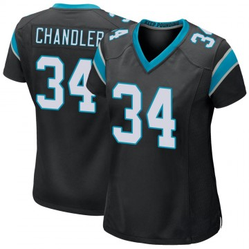 Women's Nike Carolina Panthers Sean Chandler Black Team Color Jersey - Game