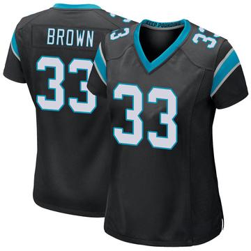 Women's Nike Carolina Panthers Spencer Brown Black Team Color Jersey - Game
