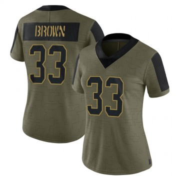 Women's Nike Carolina Panthers Spencer Brown Olive 2021 Salute To Service Jersey - Limited