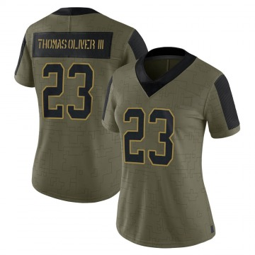 Women's Nike Carolina Panthers Stantley Thomas-Oliver III Olive 2021 Salute To Service Jersey - Limited