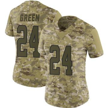 Women's Nike Carolina Panthers T.J. Green Green Camo 2018 Salute to Service Jersey - Limited