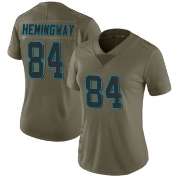 Women's Nike Carolina Panthers Temarrick Hemingway Green 2017 Salute to Service Jersey - Limited