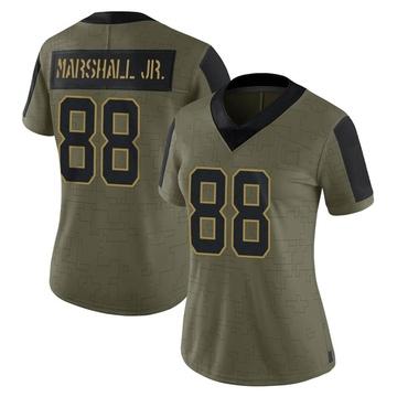 Women's Nike Carolina Panthers Terrace Marshall Jr. Olive 2021 Salute To Service Jersey - Limited