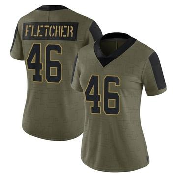 Women's Nike Carolina Panthers Thomas Fletcher Olive 2021 Salute To Service Jersey - Limited