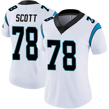 Women's Nike Carolina Panthers Trent Scott White Vapor Untouchable Jersey - Limited
