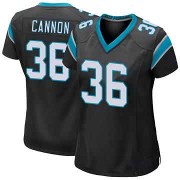 Women's Nike Carolina Panthers Trenton Cannon Black Team Color Jersey - Game