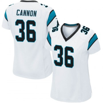Women's Nike Carolina Panthers Trenton Cannon White Jersey - Game