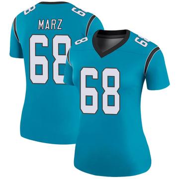 Women's Nike Carolina Panthers Tyler Marz Blue Color Rush Jersey - Legend