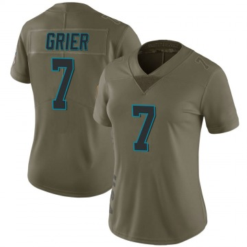 Women's Nike Carolina Panthers Will Grier Green 2017 Salute to Service Jersey - Limited