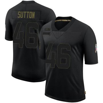 Youth Nike Carolina Panthers Cam Sutton Black 2020 Salute To Service Jersey - Limited