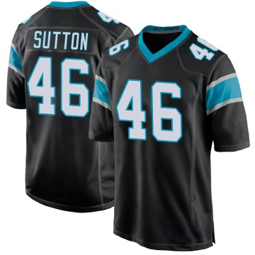 Youth Nike Carolina Panthers Cam Sutton Black Team Color Jersey - Game