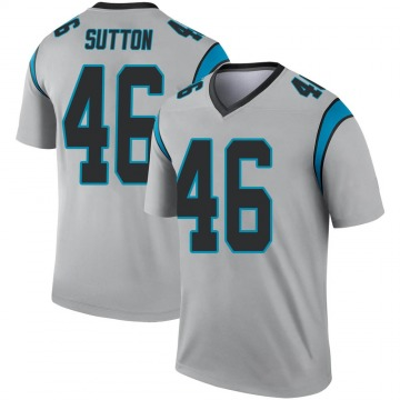 Youth Nike Carolina Panthers Cam Sutton Inverted Silver Jersey - Legend