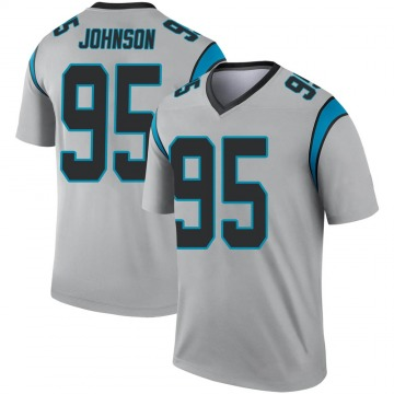 Youth Nike Carolina Panthers Charles Johnson Inverted Silver Jersey - Legend