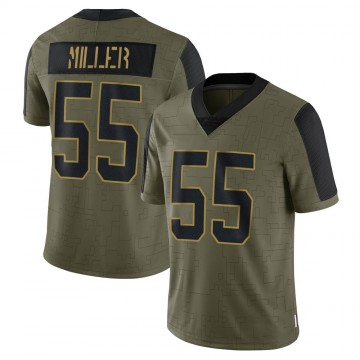 Youth Nike Carolina Panthers Christian Miller Olive 2021 Salute To Service Jersey - Limited