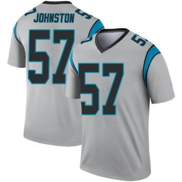 Youth Nike Carolina Panthers Clay Johnston Inverted Silver Jersey - Legend