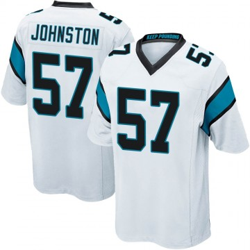 Youth Nike Carolina Panthers Clay Johnston White Jersey - Game