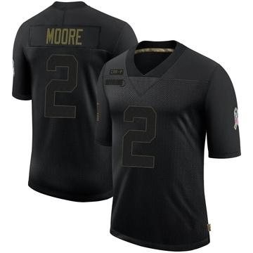 Youth Nike Carolina Panthers DJ Moore Black 2020 Salute To Service Jersey - Limited