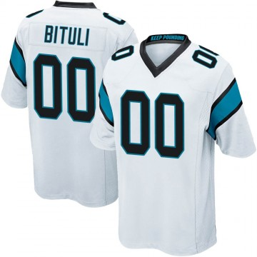 Youth Nike Carolina Panthers Daniel Bituli White Jersey - Game