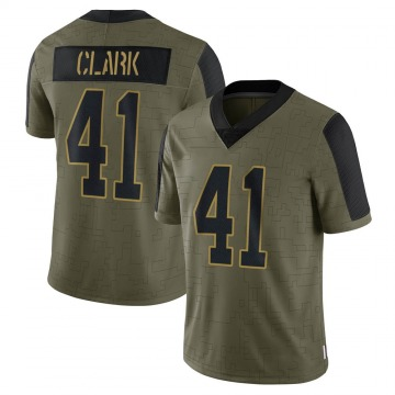 Youth Nike Carolina Panthers Darius Clark Olive 2021 Salute To Service Jersey - Limited