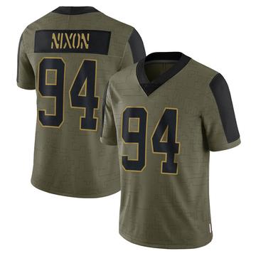 Youth Nike Carolina Panthers Daviyon Nixon Olive 2021 Salute To Service Jersey - Limited