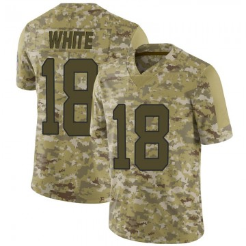 Youth Nike Carolina Panthers DeAndrew White White Camo 2018 Salute to Service Jersey - Limited