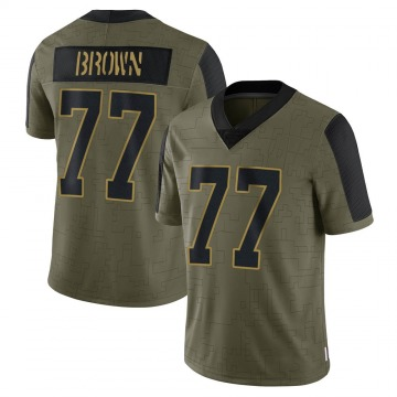 Youth Nike Carolina Panthers Deonte Brown Olive 2021 Salute To Service Jersey - Limited