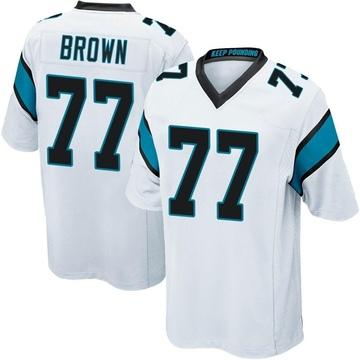 Youth Nike Carolina Panthers Deonte Brown White Jersey - Game