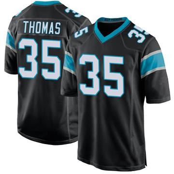 Youth Nike Carolina Panthers Derrek Thomas Black Team Color Jersey - Game