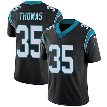 Youth Nike Carolina Panthers Derrek Thomas Black Team Color Vapor Untouchable Jersey - Limited