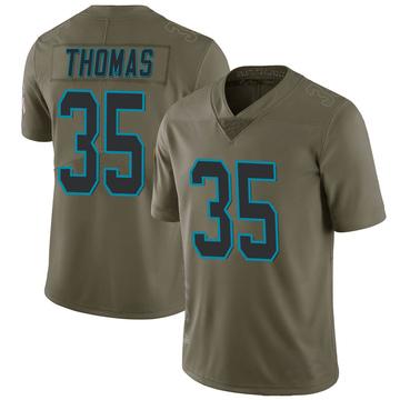 Youth Nike Carolina Panthers Derrek Thomas Green 2017 Salute to Service Jersey - Limited