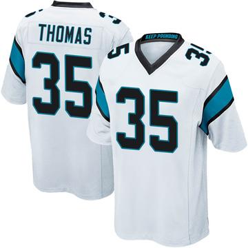 Youth Nike Carolina Panthers Derrek Thomas White Jersey - Game