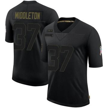 Youth Nike Carolina Panthers Doug Middleton Black 2020 Salute To Service Jersey - Limited